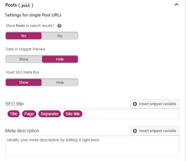 post and pages in yoast